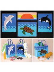 """Sea Life Collection in Plastic Canvas Pattern Pack,  Annie's Exclusive  ~~  With 4 colorful wall hangings and 3 matching tote bags featuring ocean scenes, you can have that sand-between-your-toes feeling anywhere you go!      Technique - Plastic Canvas  Each wall hanging measures approximately 10 1/2"""" x 13 1/2"""", and the totes are a generous 10 1/2"""" x 13 1/2"""" x 4 1/2"""" -- big enough to carry all your summer supplies! Made of 7-mesh plastic canvas and 4-ply yarn. Full-color, easy to read…"""