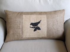 bird on branch lumbar pillow by pineconeshoppe on Etsy, $45.00
