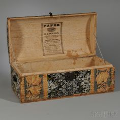 Labeled Dome-top Wallpapered Trunk | Sale Number 2712M, Lot Number 1115 | Skinner Auctioneers