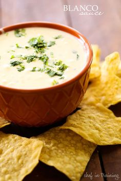 Blanco Sauce... this sauce is creamy, cheesy, perfection! It is my favorite sauce to top my Mexican food with or to dip my chips in! #riceworks #biancosauce #dip