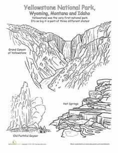 First Grade Geography Places Worksheets: Yellowstone National Park Worksheet