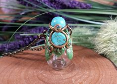 Reserved Item for K. McGurk - Enchanted Forest Faery Genuine Turquioise Oil/Perfume Diffuser Pendant Necklace by TheeEnchantedChest on Etsy https://www.etsy.com/listing/518384193/reserved-item-for-k-mcgurk-enchanted