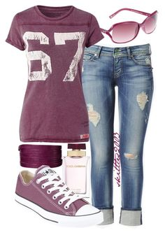 """""""Untitled #162"""" by skittles2003 ❤ liked on Polyvore featuring FOSSIL, Hudson Jeans, Denim & Supply by Ralph Lauren, Gorjana and Converse"""