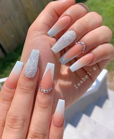 12 popular winter nail art trends that you need to try as soon as possible Ecem . - Nagel design - 12 popular winter nail art trends that you need to try as soon as possible Ecemella, out - Bling Acrylic Nails, Acrylic Nails Coffin Short, Summer Acrylic Nails, Best Acrylic Nails, Rhinestone Nails, Summer Nails, Glitter Ombre Nails, Nail With Rhinestones, Rhinestone Nail Designs