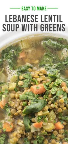 A traditional Lebanese soup, lentils, and vegetables are cooked with healthy greens in a lemony broth scented with warm cinnamon and cumin. Healthy Soup Recipes, Chili Recipes, Lebanese Lentil Soup, Lebanese Garlic Sauce, Stuffed Grape Leaves, Lemon Bowl, Lebanese Recipes, Arabic Food, Kitchen Recipes