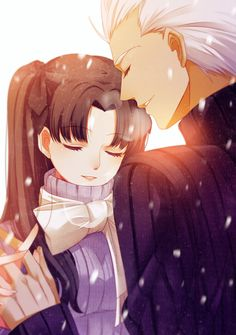 Archer (Fate/Stay night) and Tohsaka Rin Rin Tohsaka, Anime Manga, Anime Art, Fate Stay Night Rin, Fate Archer, Anime Character Drawing, Fate Zero, Fantasy Warrior, Anime Ships