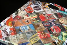Antique Beer Cans Decoupaged Tray by cookiecrumbcrafts on Etsy - with beer labels instead?
