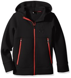 Spyder Boys Orbit Fleece Jacket, Black/Formula, Medium. New extended size range for boys and mini. Novelty fabric. Fixed hood attached. Vislon center front and hand pocket zippers. Debossed Spyder logos.