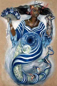 """""""Iemanjá (Yemanjá), a Rainha do Mar, mãe de quase todos os orixás, é exaltada por negros e brancos, sua origem é africana. A Iemanjá brasileira é resultado da miscigenação de elementos europeus, ameríndios e africanos""""."""