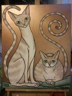 Cats tempera portrait