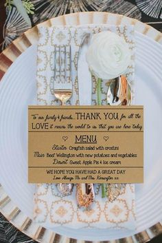 This handwritten menu will give your meal a very personal vibe. Add in a patterned napkin and a big single flower and your friends and family will feel extra special when they sit down at the dinner table. @myweddingdotcom
