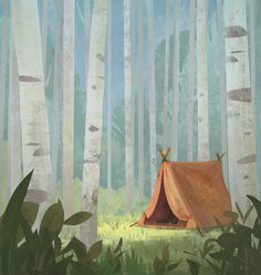 -Lundy lake campground on Behance Forest Illustration, Landscape Illustration, Watercolor Illustration, Landscape Art, Landscape Paintings, Arte Peculiar, Background Drawing, Ecole Art, Environment Concept Art