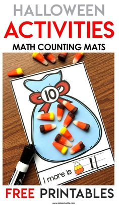 Free Halloween-themed number mats for numbers 1 to 20. Students pick a card, build the number using objects and write what is 1 more. This is the perfect activity during the fall or Halloween during math centers. There are 3 more free number mats (spiders, candy and pumpkins).
