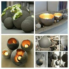 Great tutorial for making planters, using concrete and a balloon. This tutorial works and is easy. Don't use concrete, use cement to make it easy. Cement, balloons, paint and candles! Awesome idea and I love the look of it. Pin by Joke De bruin on cement Cement Art, Cement Planters, Concrete Crafts, Concrete Garden, Concrete Art, Concrete Projects, Diy Planters, Garden Planters, Garden Art