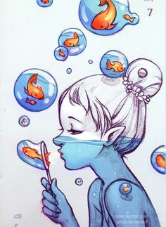Image about girl in Drawings - Painting - illustration by Bà Già Bé Art Drawings Sketches, Cute Drawings, Pencil Drawings, Cool Drawings Tumblr, Tumblr Sketches, Cartoon Drawings, Dibujos Tumblr A Color, Blowing Bubbles, Cute Art