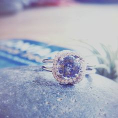 A little blue from the Big Skies of Montana - 1.20 carat Yogo Sapphire surrounded by intertwining rows of diamonds.