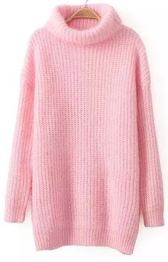 Shop Pink High Neck Long Sleeve Knit Sweater online. Sheinside offers Pink High Neck Long Sleeve Knit Sweater & more to fit your fashionable needs. Free Shipping Worldwide!