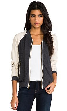 Chaser Light Weight Fleece Track Jacket in Black & Taupe & Antique White | REVOLVE