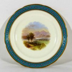 Minton Scenic PLate with Enamel Border