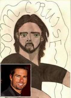 Tom Cruise as something that does not even resemble Tom Cruise, much less a human: The 30 Most Horrifying Fan Tributes Of All Time Tom Cruise Meme, Bad Fan Art, Unusual News, Bad Drawings, Celebrity Drawings, Funny Kids, All About Time, Weird, Funny Pictures