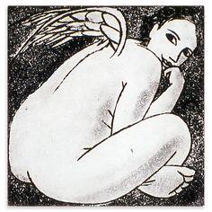 Anita Klein - Small Angel Thinking, Limited Edition Etching, 19x18cm, Unframed