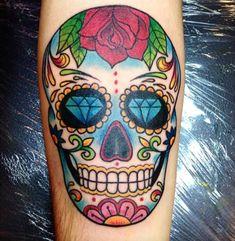 Modèle de tatouage coloré crâne mexicain
