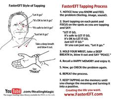 "Faster Eft Tapping Script ""The Quick Tap"" Identify the problem: Think about (or recall) the problem or event in detail. (Notice the emotions and specific images Faster Eft, Coaching, Eft Tapping, Meditation, Holistic Medicine, Holistic Healing, Natural Healing, Tai Chi, Letting Go"
