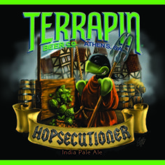 Hopsecutioner from Terrapin Beer Co. - 7.3 ABV.  Pours amber color.   Piney, fruity, malty, hoppy.  A very good beer.