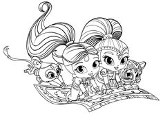The Team On Magic Carpet Shimmer And Shine Coloring Pages For Girls