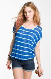 Chloe K Oversized U-Back Stripe Tee (Juniors)