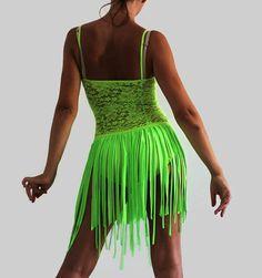 Latin Salsa Performance Dance dress Green neon by CrinolinAtelier