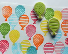hand carved rubber stamp by talktothesun. set of 2 party balloon rubber stamps. pattern stamp series for your party theme diy crafts, scrapbooking + art journal. Clay Stamps, Kids Stamps, Stamp Printing, Printing On Fabric, Stamp Carving, Handmade Stamps, Party Favor Bags, Ink Pads, Fabric Painting