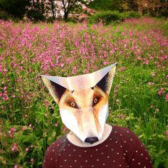 Fox in a field of flowers 🌾🌿🌼🐺🌼🌿🌾 . . . #🐺 #fantasticmrfox #foxfan #foxes #foxy #foxface #fox #foxlover #foxmask #paperfox #paperanimal #foldingmask #cardcraft #papercraft #fancydress #costume #foxcostume #foxyfancydress