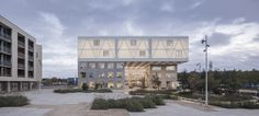ADEPT completes videnbyen cortex park in odense, denmark Steel Trusses, Roof Trusses, Contemporary Architecture, Art And Architecture, Roof Styles, House Styles, Concrete Facade, Odense, Education Architecture