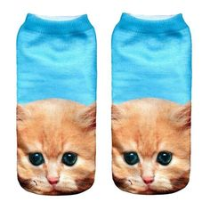 Socks For Girls Women 3D Printed Animal Casual Socks Cute Cat Unisex Low Cut Ankle Socks