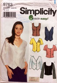Fitted top blouse vest and jacket Simplicity 9763 Uncut sewing pattern Bust 29.5 30.5 31.5 and 32.5 Six variations by 101VintagePatterns on Etsy