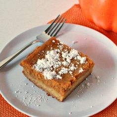 Feast your tastebuds on this fabulous fall dessert!  The only way to make gooey butter cake better is to add pumpkin!