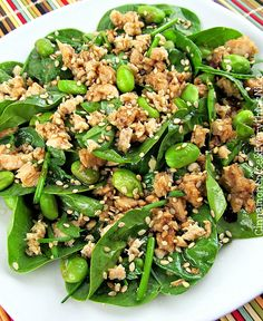 Asian Spinach Salad w/ Salmon and Edamame