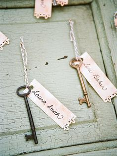 """he is the key to my heart... so it would be cute to have old antique keys for guests to """"unlock their seats"""""""