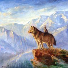 Isabella en de Print van de Wolf van PaintedMoonGallery op Etsy