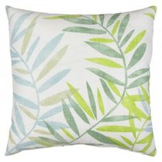 This is a beautiful plant pattern in green, blue, and white and works perfect in many different size spaces. Pillows By Dezign