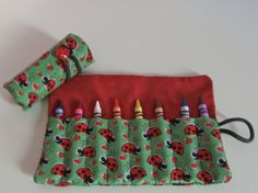 Ladybug Crayon Roll Holds 816 Crayons by EmmisOwls on Etsy, $5.00