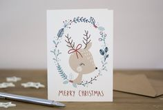 Deer Christmas card, vintage christmas by KnightandGray on Etsy