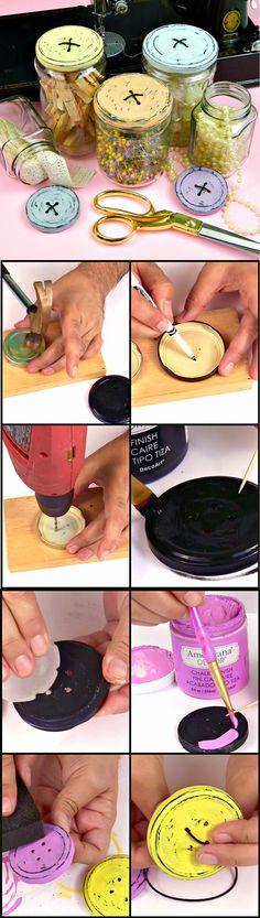 DIY Button Jars Lids | DIY Mason Jar Organizer by DIY Ready at  http://diyready.com/mason-jar-crafts-in-15-minutes/