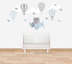 Balloon Wall, Hot Air Balloon, Balloons, Nursery Wall Stickers, Kids Wall Decals, Toddler Rooms, Baby Boy Rooms, Baby Room Design, Baby Room Decor