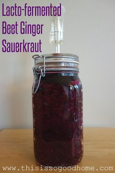 Lacto-fermented Beet Ginger Sauerkraut - I love the fizzy and zippy taste you can only get from homemade ferments.#food #fermentedfoods #probiotic #lactofermented #sauerkraut #beet #ginger