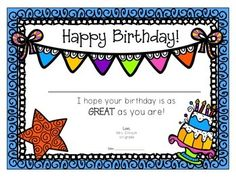 Charming Surprise Your Students With A Special Birthday Certificate!! These  Certificates Feature Clipart By Krista Pertaining To Happy Birthday Certificate Templates