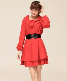 ee5457fd90ad Red Oversized Elegant Stylish Collar Korean Trendy Dress 1 Korean Dress
