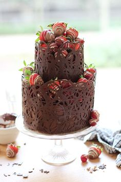 Two tiered salted caramel chocolate fudge cake. Recipe and step-by-step
