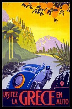 Vintage 'Grece En Auto' Poster.